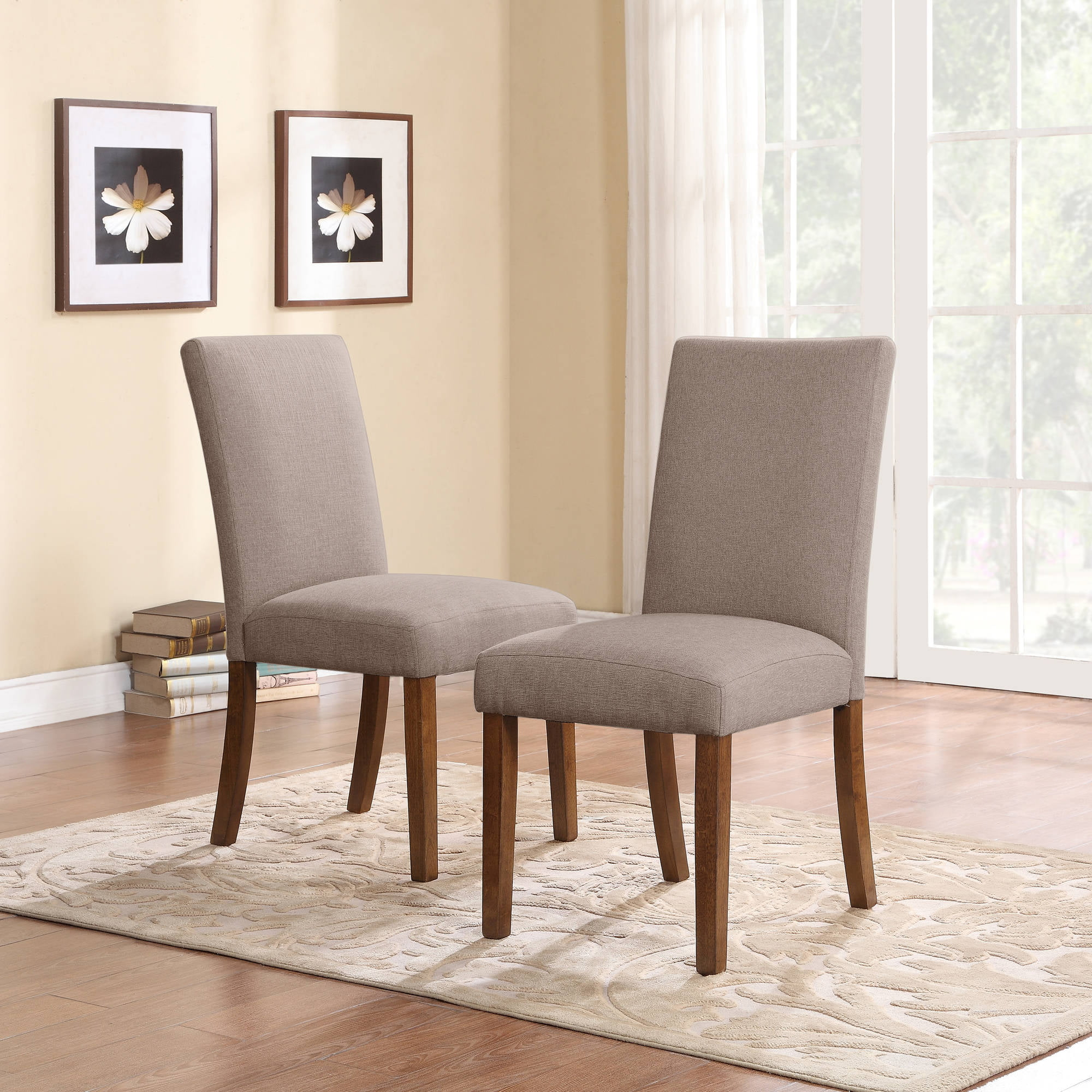 Merveilleux Trestle 5 Piece Dining Set With Linen Parsons Chairs, Dark Pine/Taupe    Walmart.com