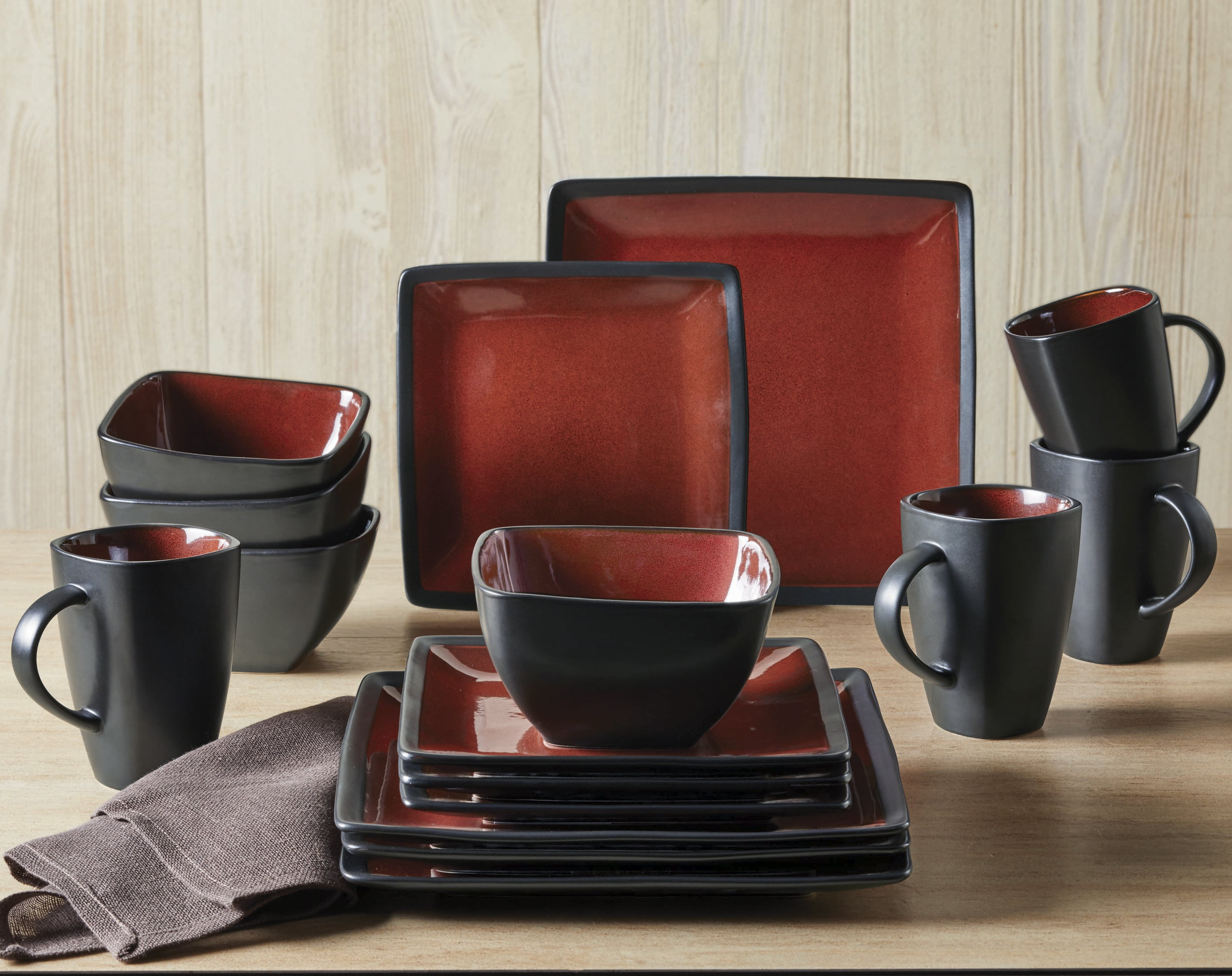237a98a375061 Better Homes   Gardens Red   Black Weston Dinnerware Set