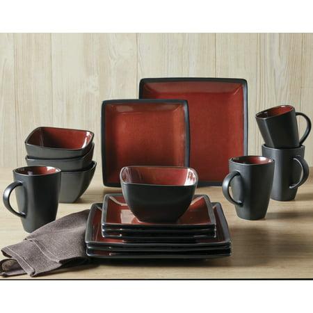 Better Homes & Gardens Red & Black Weston Dinnerware Set, 16 Piece