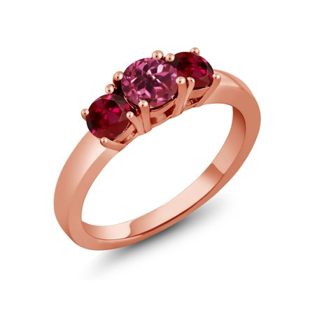 1.00 Ct Round Pink Tourmaline Red Created Ruby 18K Rose Gold Plated Silver Ring ()