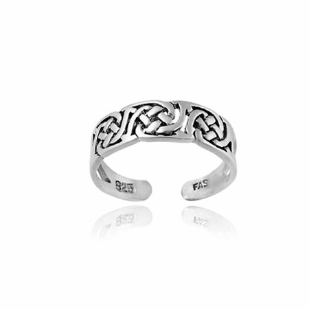 Irish Celtic Sterling Silver Knot Toe - Dolphins White Gold Toe Ring