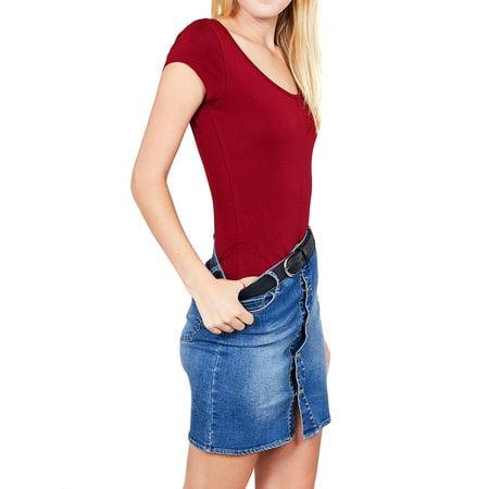 Scoop Back Long Sleeve Leotard - Women & Juniors Solid Short Sleeve Scoop Neck Cotton Bodysuit Leotard with Snap Crotch Bottom