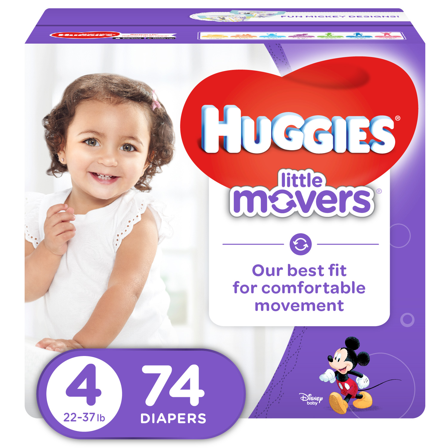 HUGGIES Little Movers Diapers, Size 4, 74 Ct