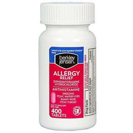 Berkley Jensen 25mg Diphenhydramine Hydrochloride Antihistamine Cold & Allergy Relief  Tablets, 400 ct. (Diphenhydramine Hydrochloride)