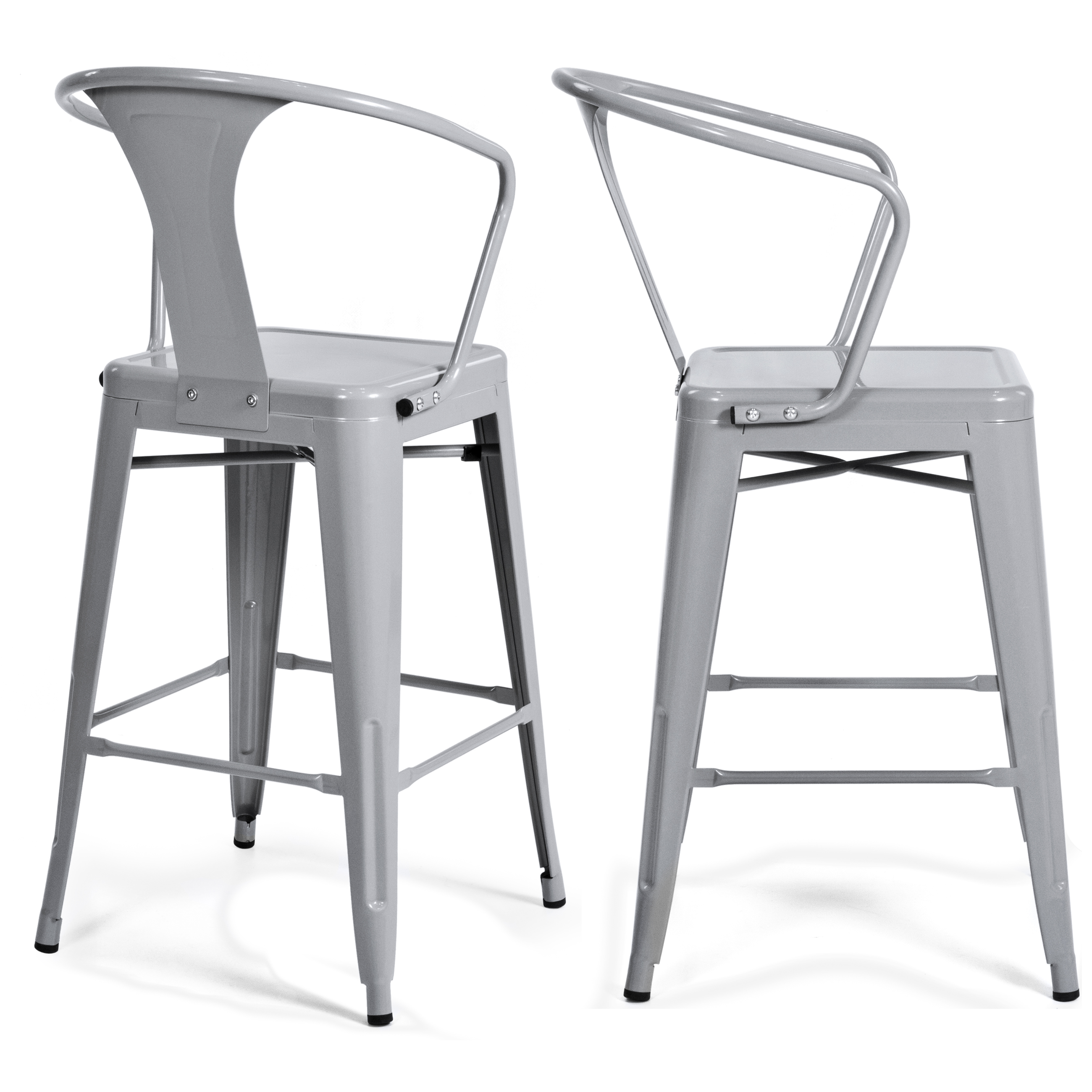 (2) Metal Bar Stools Vintage Antique Style Bar Stool Armchair Silver by