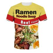 Unisex Stylish Casual Design Ramen Noodle Soup Beef Flavor 3D Printed Short Sleeve Men T Shirts Lovers Tees