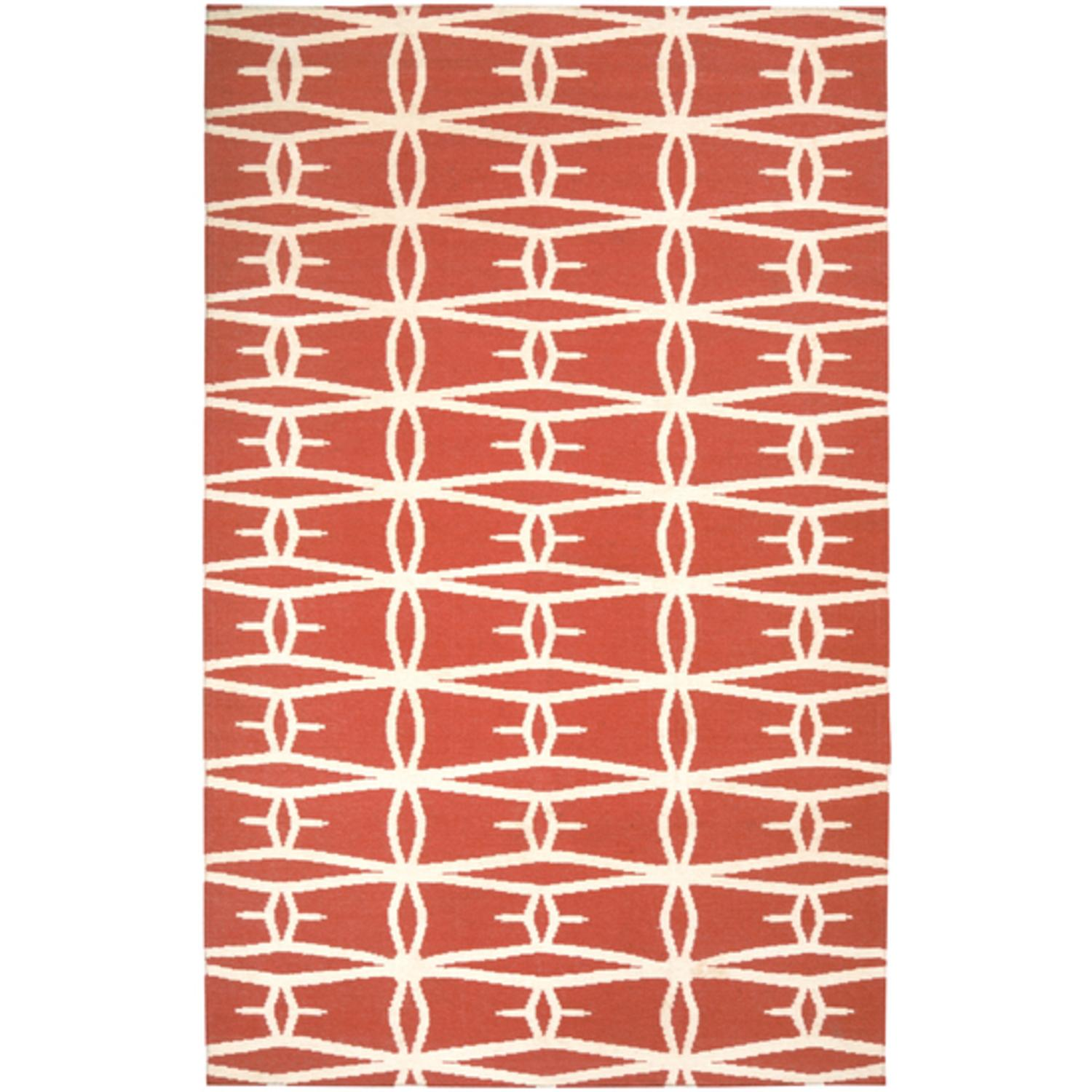 2.5' x 8' Barb Wire Sunset Poppy Red Wool Area Throw Rug