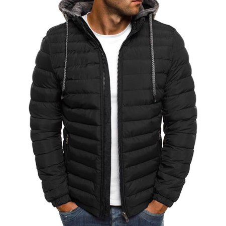 Men's Hooded Puffer Jackets Coats Winter Warm Zipper Casual Padded Outerwear