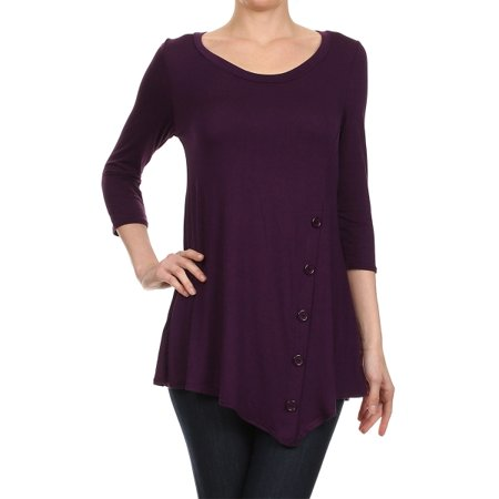 Women's Trendy Style 3/4 Sleeves Button Trim Solid Top (Sonnenbrille Trendy)