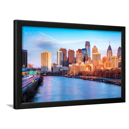 Late Afternoon in Philadelphia. the Skyline Glows under an Orange Sunset Light. Schuylkill Expressw Framed Print Wall Art By mandritoiu - Items That Glow Under Black Light