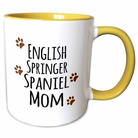 English Springer Paw Prints (3dRose English Springer Spaniel Dog Mom - Doggie by breed - brown muddy paw prints - doggy lover pet owner - Two Tone Yellow Mug, 11-ounce )