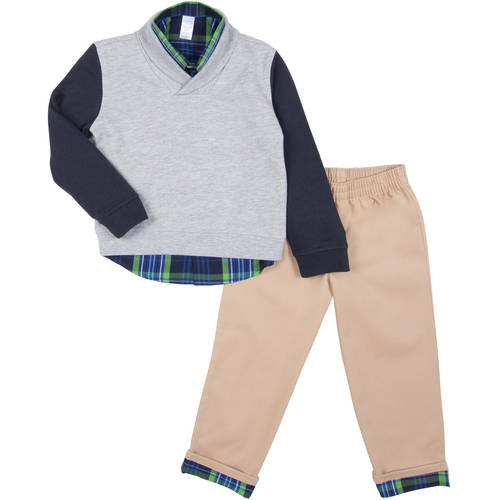 George Toddler Boy Shawl Collar Sweater, Woven Button-up Shirt & Pants 3pc Outfit Set