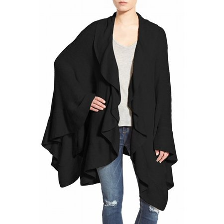 Nordstrom New Black Womens One Size Open Front Ruffle Cardigan Sweater