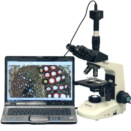 AmScope 40X-1600X Full Size Compoud Microscope + 8MP Digital Camera