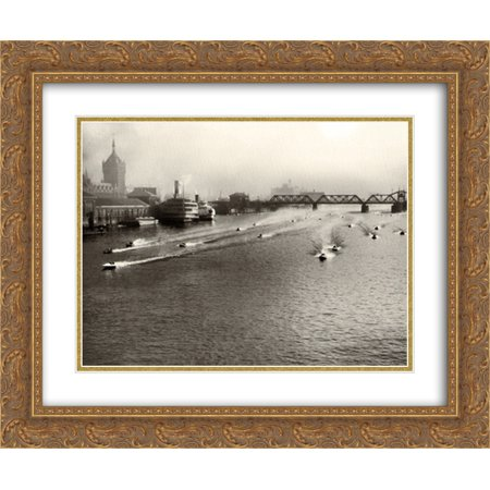 Albany to NY-1932 Outboard Race 2x Matted 18x15 Gold Ornate Framed Art Print 1932 Gold Framed Print