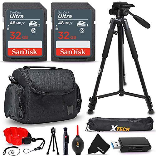 15 Pc Accessory Kit for Canon EOS Rebel T7i T7 T6i T6S T6 T5i T5 T3i EOS RP M50 SL3 SL2 80D 77D 70D 60D 6D 7D Mark II, 5DS, 5D Mark III, 5D Mark II DSLR Cameras + 64gb SD Memory, Case, Tripod + More
