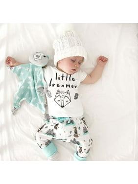 28a550f232174 Product Image 2pcs Set Newborn Baby Boy Fox Short Sleeve T-shirt Tops+Long Pants  Outfits