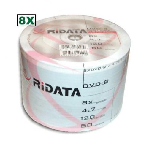 100 Ritek Ridata 8X DVD-R 4.7GB White Inkjet Hub Printable
