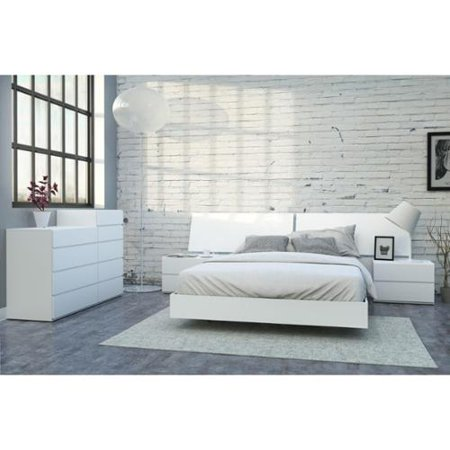 Nexera District Kit Headboard Bed Nightstands Drawer Chest Drawer Chest