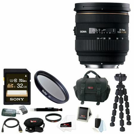 Sigma 24-70mm f/2.8 IF EX DG HSM Autofocus Lens for Canon EOS Bundle