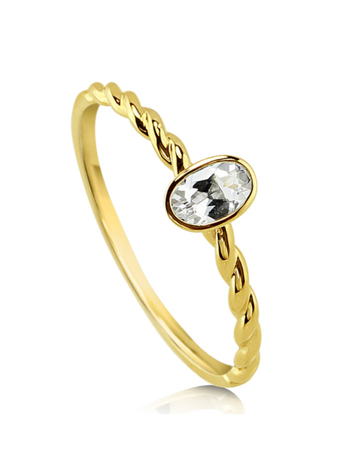 10K Yellow Gold Oval Cut Topaz Solitaire Cable Promise Ring Size 4