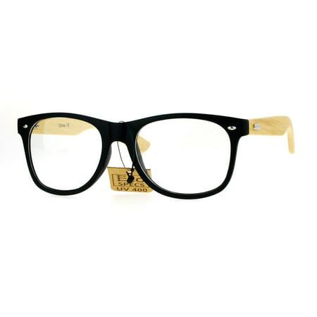 SA106 Bamboo Wood Arm Hipster Horn Rim Eco Eye Glasses Matte (Thick Rimmed Glasses Hipster)