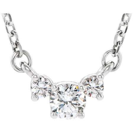 Platinum 1/3 Ct Round Diamond (SI2-SI3/G-H) 3-Stone Prong Set Pendant 18
