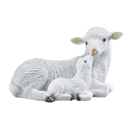 Mother and Baby Sheep Garden Statue - Realistic Textured Figurine for Yard, Porch, or Any Room in Home