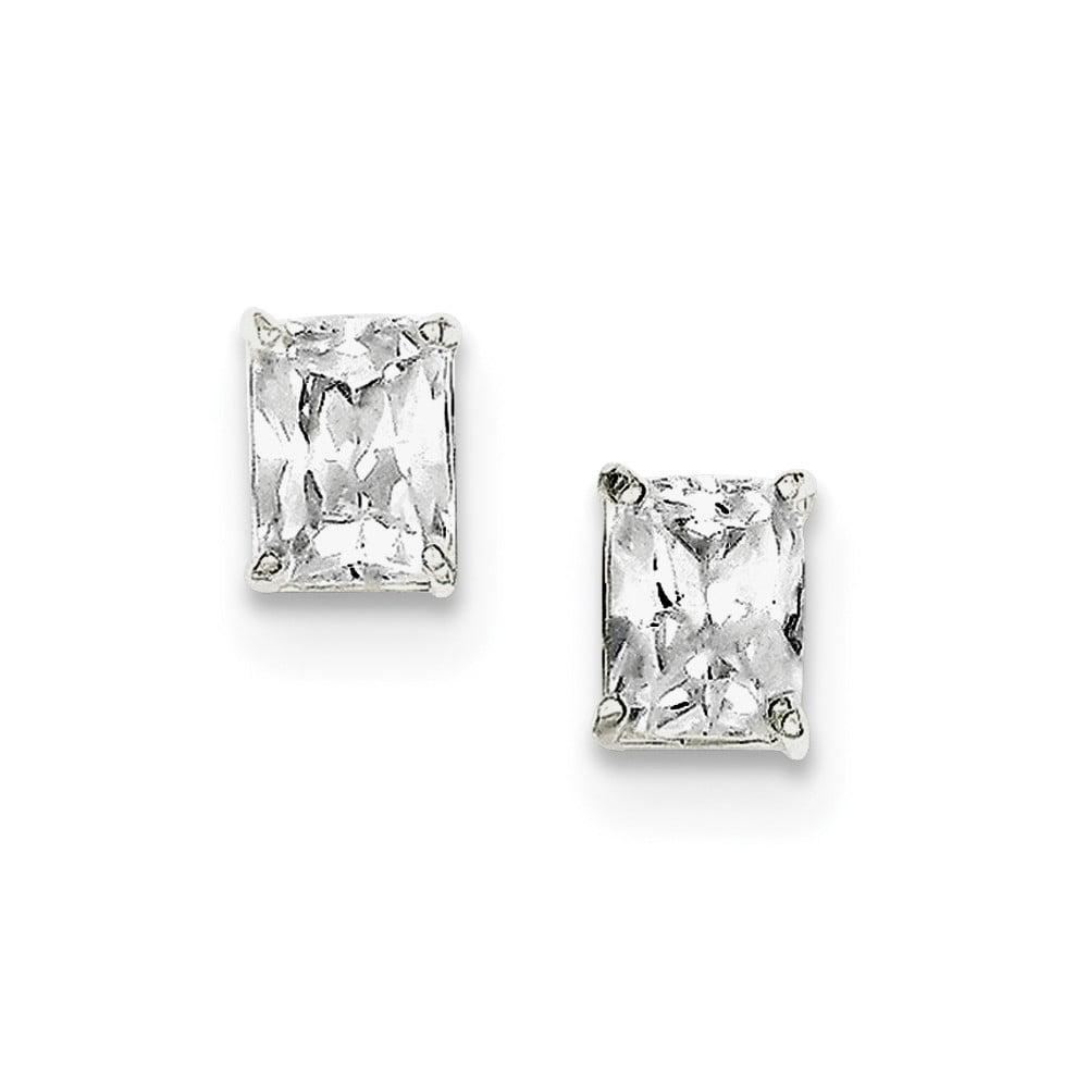 Sterling Silver CZ Synthetic Emerald Stud Earrings (8MM Long x 6MM Wide)