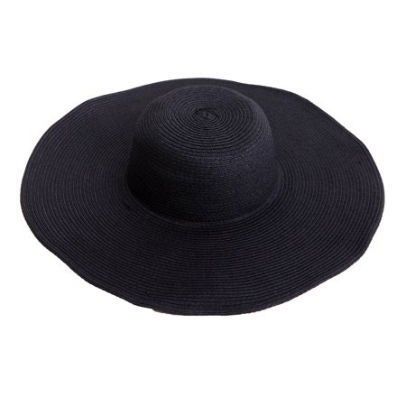 Women Top Hat (HDE Women's Floppy Packable Wide Brim Sun Shade Derby Beach Straw Hat (Black) )