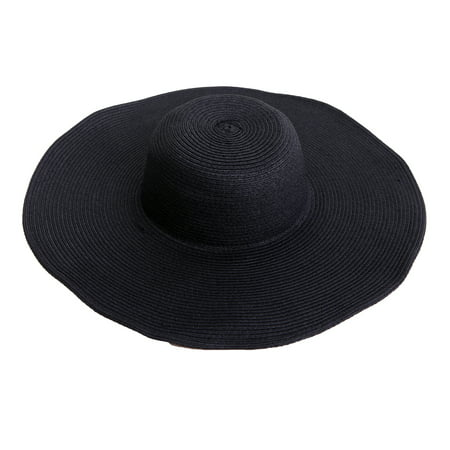 HDE Women's Floppy Packable Wide Brim Sun Shade Derby Beach Straw Hat (Black)