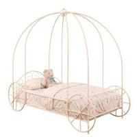 Kingfisher Lane Twin Metal Canopy Kids Bed in Powder Pink