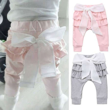 Newborn Baby Girl Toddlers Kid Summer Trousers Bowknot Pants Casual Bottoms