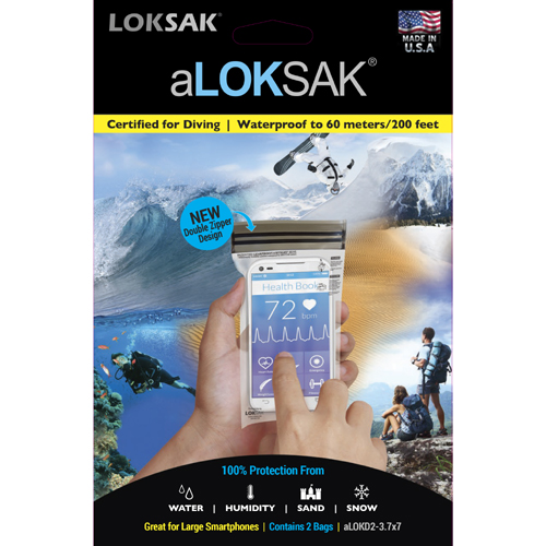 "Loksak aLoksak Waterproof Re-Sealable Storage Bags (2 Pack) - 3.7"" x 7"""