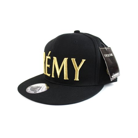 TopCul Men's Baseball Cap REMY Embroidered Hip Hop Flat Snapback Hat Black - Black Baseball Hat