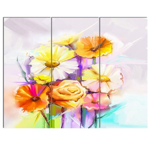 Design Art 'Yellow Pink Gerbera and Rose Bouquet' 3 Piece Painting Print on Wrapped Canvas Set
