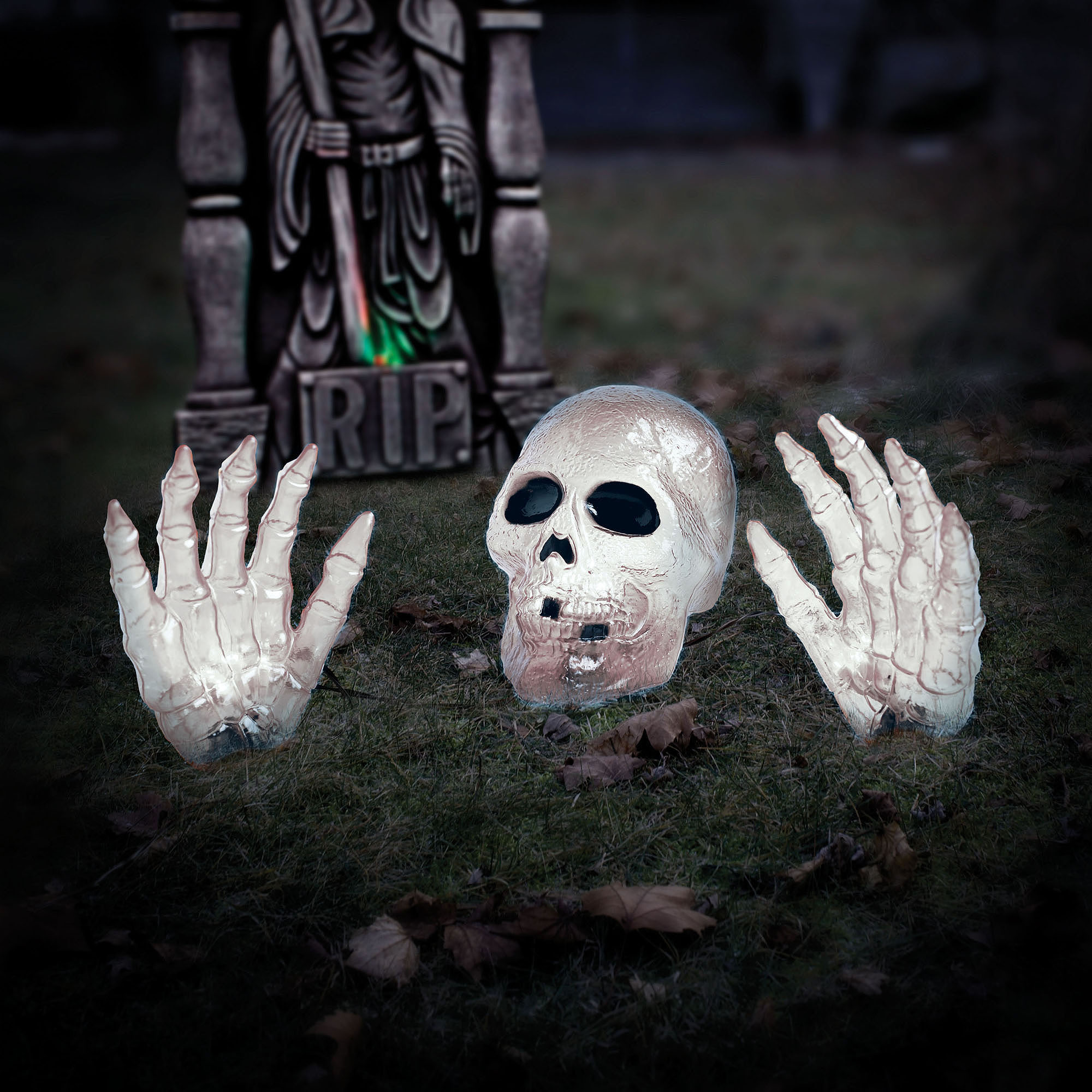 2' White Skull with Hand Halloween Prop Halloween Decoration