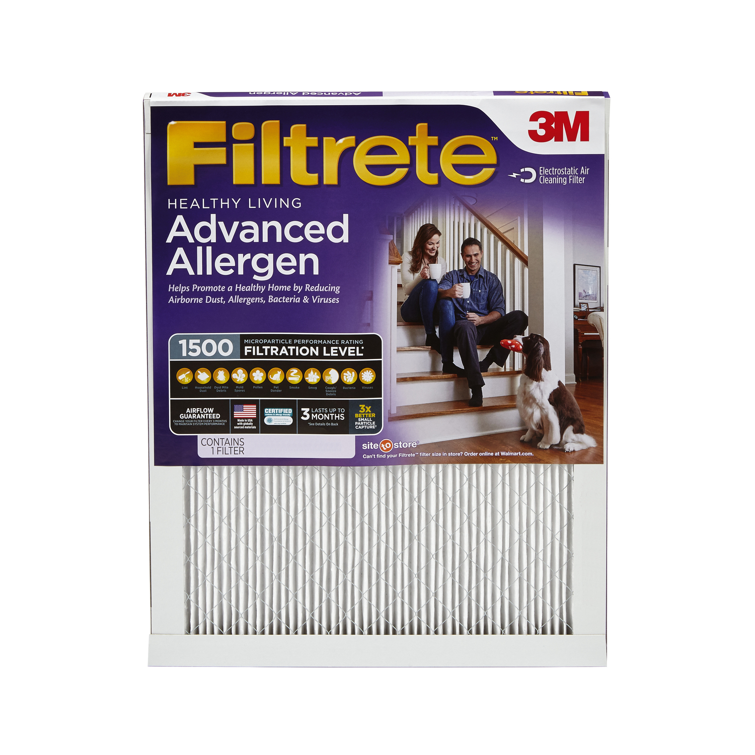 Filtrete Healthy Living Advanced Allergen Reduction HVAC Furnace Air Filter, 1500 MPR, 14 x 20 x 1, 1 Filter
