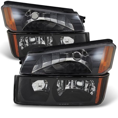 Fit 02-06 Avalanche Body Cladding Model Black Headlights + Bumper Signal Lights