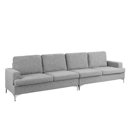 Remarkable Large 126 7 Inch Linen Sofa 4 Seat Living Room Couch Light Grey Andrewgaddart Wooden Chair Designs For Living Room Andrewgaddartcom