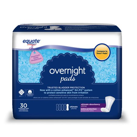 Equate Overnight Incontinence Pads For Women  Ultimate  30 Ct