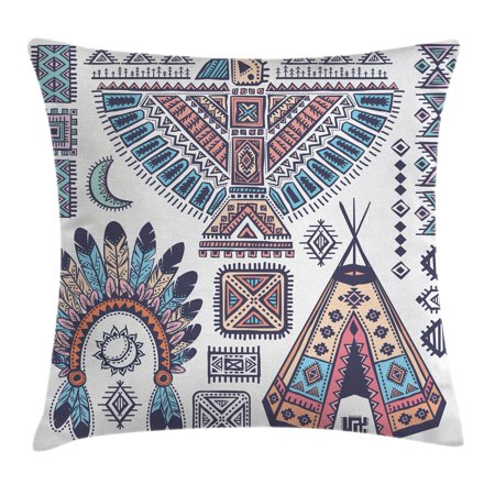 Tribal Decor Throw Pillow Cushion Cover Indian Teepee Tent Eagle