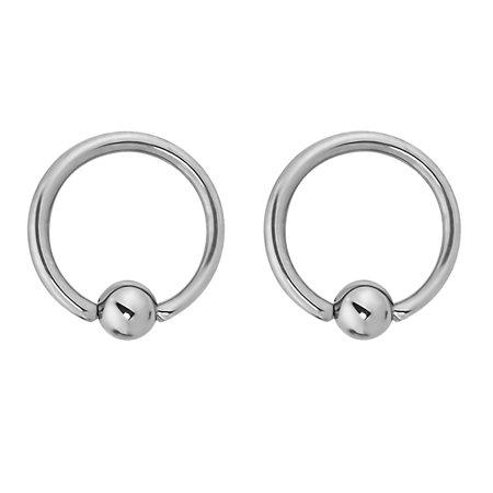 Pair of 2 Rings: 14g 7/16 Inch Surgical Steel Captive Bead Hoop CBR Rings, 4mm Balls