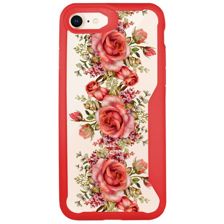 MINITURTLE Case Compatible with Apple iPhone 7 / Apple iPhone 8 [Floral Print Case] [ARMOR FLEX SERIES] Clear and Red TPU Bumper Case - Rose Vine - Apple Red