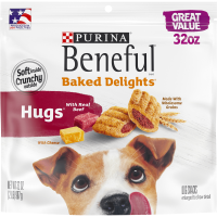 Purina Beneful Dog Treats; Baked Delights Hugs With Real Beef & Cheese (Various Sizes)