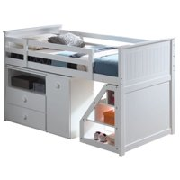 Pemberly Row Loft Bed with Chest and Swivel Desk in White