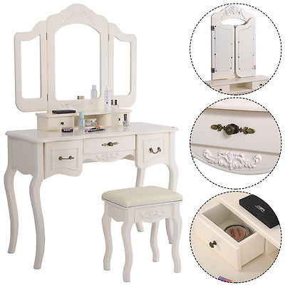 Tri Folding Vintage White Vanity Makeup Dressing Table Set 5 Drawers &stool GSS172349101 by GSS
