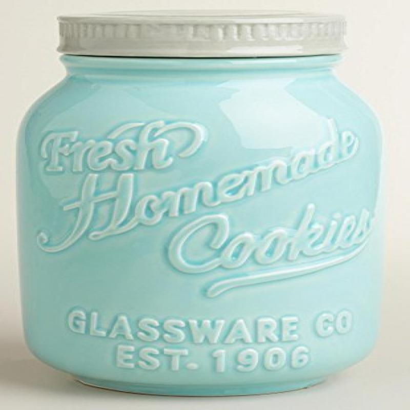 Blue and White Mason Jar Ceramic Cookie Jar by World Market by