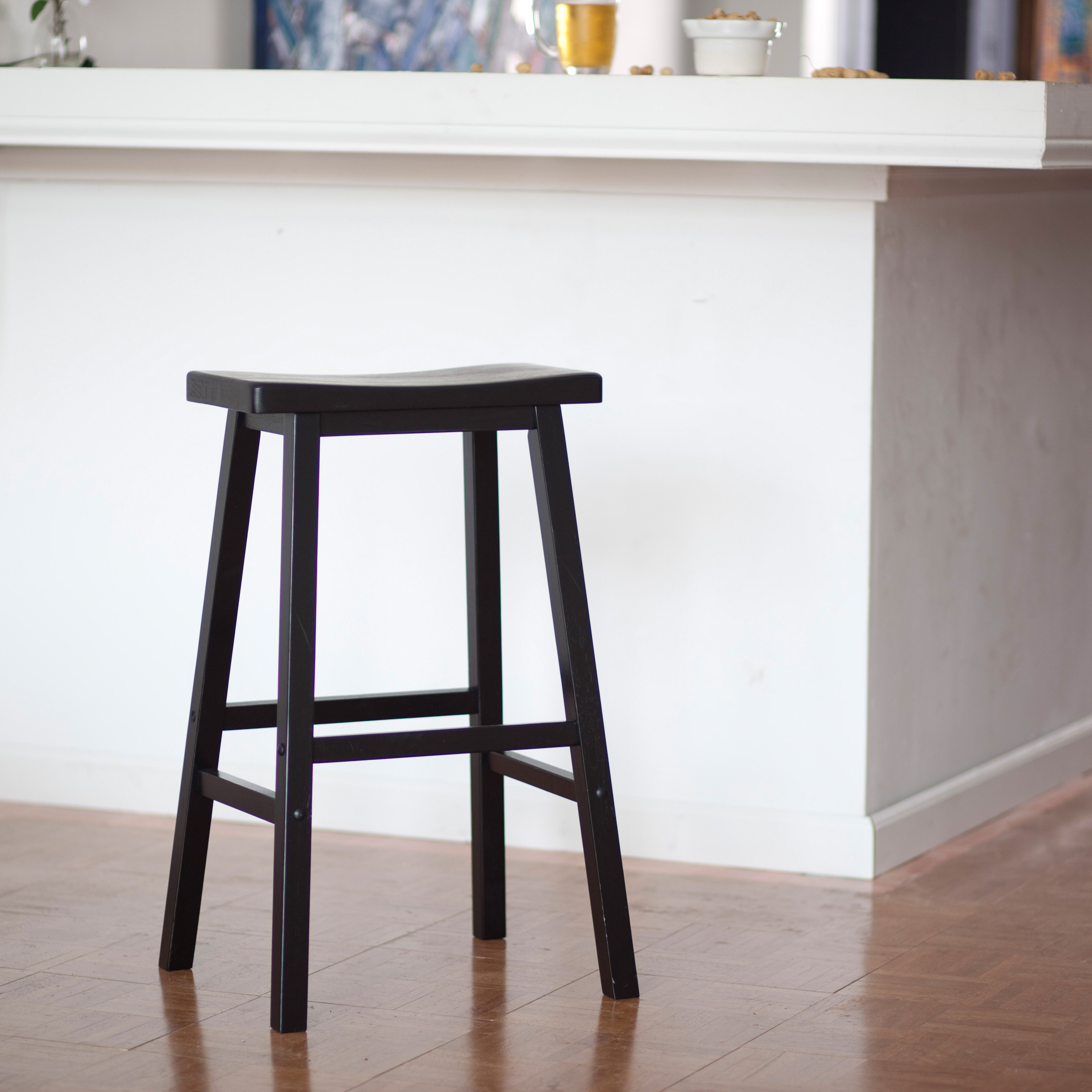 Details About 29 Saddle Seat Bar Stool Antique Solid Wood Kitchen Counter Furniture Black New