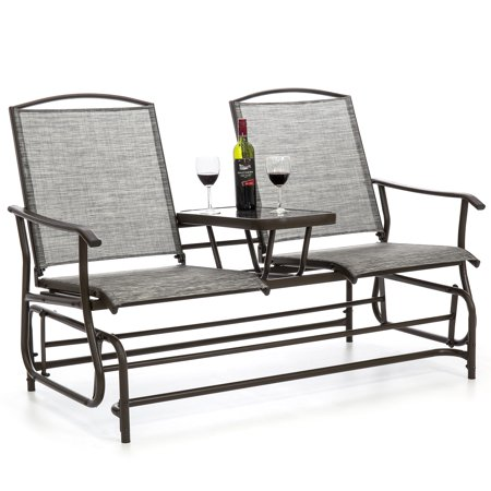 Best Choice Products 2-Person Outdoor Mesh Patio Double Glider w/ Tempered Glass Attached Table, Weather-Resistant Fabric - Gray